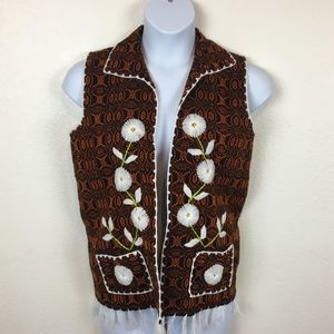 Vintage Embroidered Open Front Boho 1970s Vest L